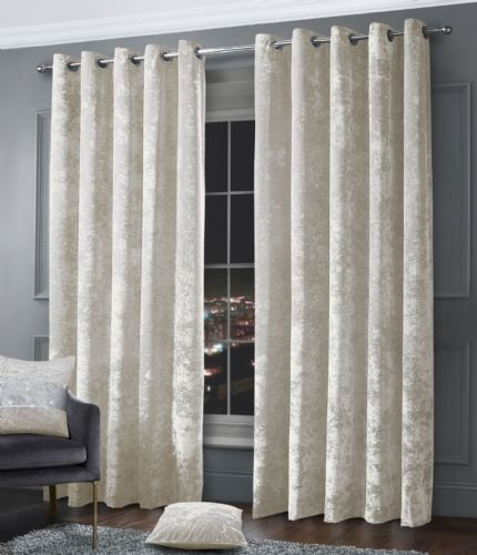 Stylish Crushed Velvet Modern Textured Ringtop Eyelet Pair Of Curtains Cream Colour
